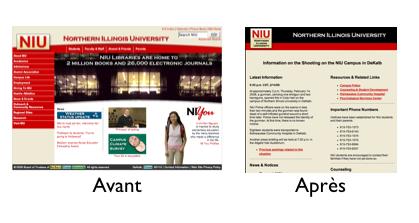 Northern Illinois University Page d'acceuil avant et après